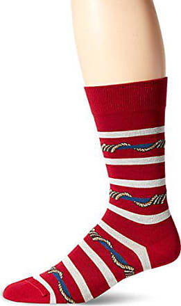 Ozone Mens Wrap Around Stripes Sock, Red, 10-13