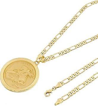 Tudo Joias Kit Medalha São Jorge com Corrente 6mm Folheada a Ouro 18k