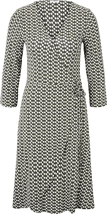 Tom Tailor Gemustertes Jersey-Wickelkleid, Damen, khaki dot design, Größe: 36