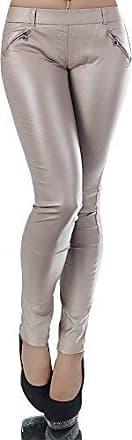N017 Damen Hose Treggings Jeggings Stoffhose Leder-Look Röhrenhose Leggings