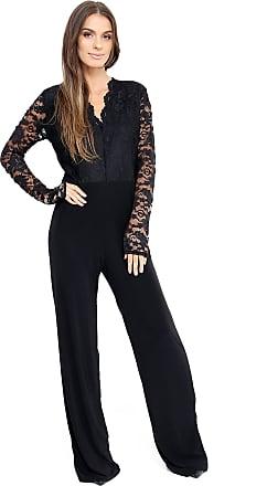 Parsa Fashions UK Womens Evening Party Playsuit Ladies Lace Long Jumpsuit Plus Size UK 16-24 (UK 20, Black)