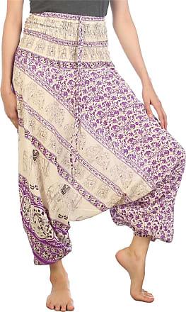 Lofbaz Womens Floral Elephant Harem Trousers Smocked Jumpsuit Purple 3XL
