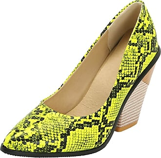 RAZAMAZA Women Vintage Western Pumps Shoes Chunky Heels Court Shoes Slip On Pointed Toe Snake-Print Shoes Green Size 35 Asian