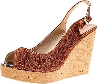 1dbb205ed33c Jimmy Choo London Metallic Pop Orange Lurex Prova Slingback Cork Wedge  Sandals Size 41