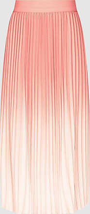 Reiss Mila - Ombre Pleated Midi Skirt in Peach, Womens, Size 10