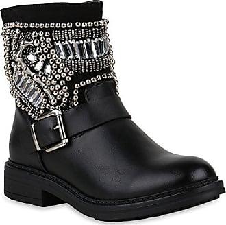18a5a304ff08fe Stiefelparadies Damen Schuhe Stiefeletten Leicht Gefütterte Stiefel Biker  Boots Strass 147556 Schwarz Stone Berkley 37 Flandell