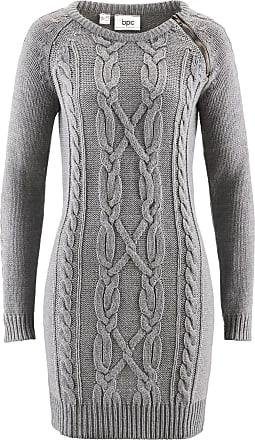 73092b5aa3ce Bonprix Dam Stickad klänning i grå lång ärm - bpc collection