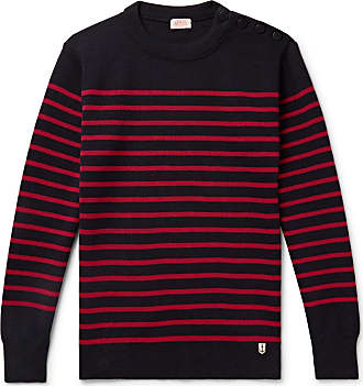 Armor Lux Molene Slim-fit Button-embellished Striped Wool Sweater - Midnight blue