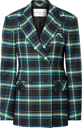 Matthew Adams Dolan Double-breasted Checked Wool-blend Twill Blazer - Storm blue
