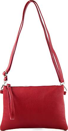 modamoda.de T186 - Italian Clutch/Shoulder Bag Leather Medium, Colour:Ruby red