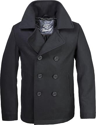 Brandit Classic Vintage Navy Pea Coat Retro Blazer Wool Jacket (L)