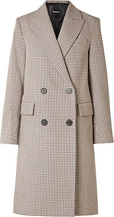 82b8e5215ff Theory Genesis Double-breasted Houndstooth Cotton And Wool-blend Coat -  Beige