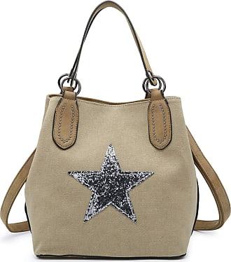 Craze London Womens Embellished Star Canvas Shoulder Bag Ladies Large Strap Shoulder bags Branded Bags (Light grey)