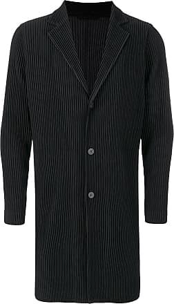 Homme Plissé Issey Miyake single breasted pleated coat - Black