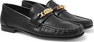 Versace Antares Chain-trimmed Textured-leather Loafers - Black