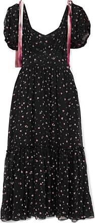 LoveShackFancy Angie Gathered Floral-print Silk-georgette Maxi Dress - Black