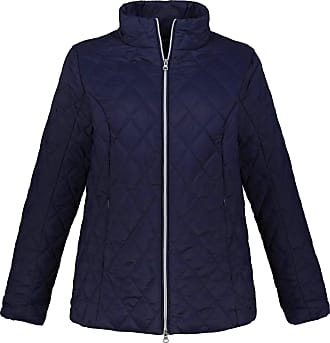 Ulla Popken Womens Plus Size Fleece Scarf and Diamond Quilted Jacket Dark Blue Lilac 20/22 719892 73-46+