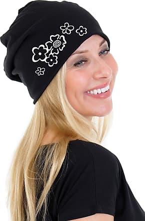 3Elfen Ladies Jersey Slouch Beanie HAT with Flower Print Simple Classic - Black White