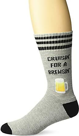 Hot Sox Mens Food and Booze Novelty Casual Crew Socks, cruising for a Brewsin (Grey Heather), Shoe Size: 6-12