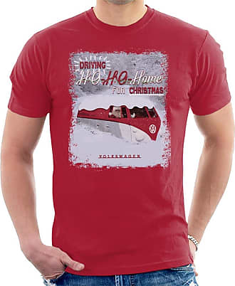 Volkswagen Driving Ho Ho Home for Christmas Mens T-Shirt Cherry Red