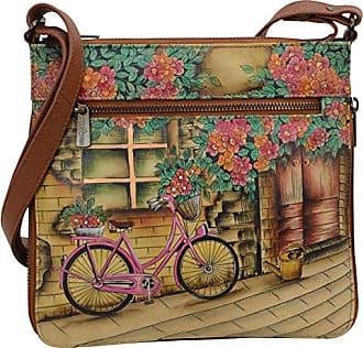 Anuschka Hand Painted Leather Womens Expandable Travel Crossbody, Vintage  Bike 8e909356ce