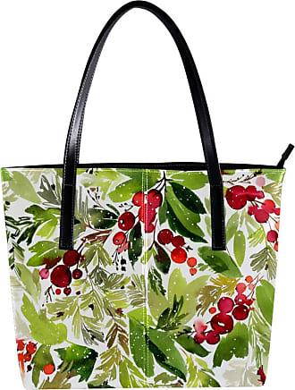 Nananma Womens Bag Shoulder Tote handbag with Berries and Spruce Print Zipper Purse PU Leather Top-handle Zip Bags