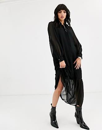 Object smock maxi dress with prairie collar-Black