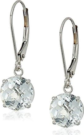 Amazon Collection 10k White Gold Round Checkerboard Cut White Topaz Leverback Earrings (8mm)