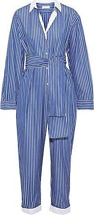 735b64ced4 Sandro Sandro Woman Evora Cropped Tie-front Striped Cotton-chambray Jumpsuit  Blue Size 38