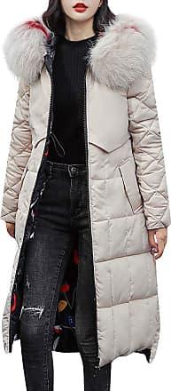 JERFER Womens Casual Fashion Winter Warm Hooded Coat Long Cotton Padded Jackets Pocket Coats Beige