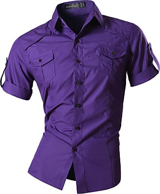 Jeansian Mens Fashion Short Sleeves Shirts Casual Slim Fit Dress Tops Pocket Office 8360 Purple XXL