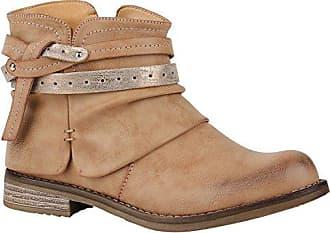 Stiefelparadies Damen Stiefeletten Leicht Gefüttert Biker Boots Schnallen  Metallic Schuhe 150149 Hellbraun Zierknöpfe 36 Flandell 0916a7df34