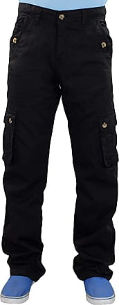 True Face Mens Combat Cargo Work Trousers Pants Zip Pocket Jogging Bottoms Black 34R