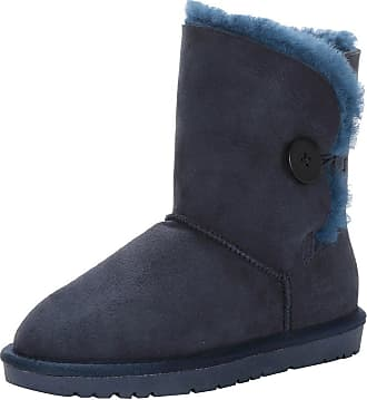 Jamron Women Classy Sheepskin Mid-Calf Snow Boots Warm Shearling Wool Lined Winter Boots with Button Navy SN021013 UK5.5