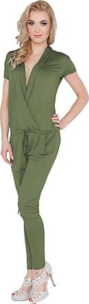 FUTURO FASHION Womens Jumpsuit with Pockets V Neck Wrap Playsuit Catsuit Sizes 8-18 1080 Khaki