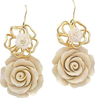 Tinna Jewelry Brinco Dourado Rosa Resina Marfim