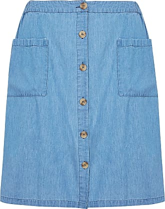 Yours Clothing Clothing Womens Denim Chambray Button Skirt Size 30-32 Blue