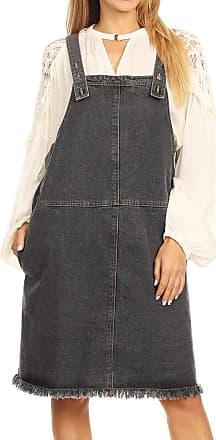 Anna Kaci Womens Oversized Loose Adjustable Strap Denim Overall Dress Jumper A-line Pinafore, Black Denim, Medium
