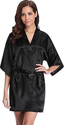 074a3f4955 Aibrou Damen Satin Kimono Nachthemd Nachtwäsche Langer Morgenmantel  Bademantel Schlafanzug Unterwäsche mit Gürtel Schwarz L