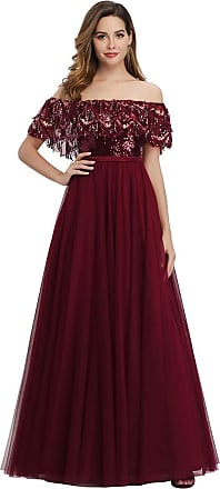 Ever-pretty Womens Fashion Off The Shoulder with Tassel Sequin Ruffles A Line Empire Waist Tulle Evening Party Dresses Burgundy 14UK