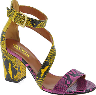 PARIS TEXAS Pitone Fuxia Giallo Womens Ankle Strap Heels Sandals in Multicolored Python Leather - Model Number: PX157 - Size: 6 UK