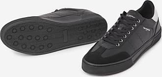 The Kooples Black leather trainers with white inserts - MEN