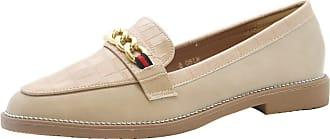 Saute Styles Womens Flats Brogue Loafer Chain Croc Office Pumps Ladies School Work Shoes Beige 6
