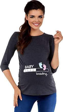 Zeta Ville Zeta Ville Maternity - Womens Pregnancy Funny Baby Feet Print T-Shirt Top 549c (Graphite Melange, UK 16/18, 2XL)