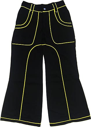 Insanity Womens Neon Yellow Cyber Gothic Bondage Jeans Trousers Alternative Flared Baggy Emo (28 Waist)