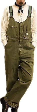 Hellomiko Mens Dad Pants Vintage Bib Overalls Dungarees Jumpsuits Baggy Trousers Green