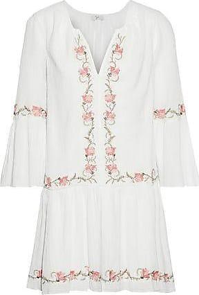 Joie Joie Woman Jarette Embroidered Crinkled Cotton-gauze Mini Dress White Size XXS