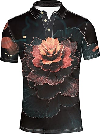 Hugs Idea Floral Mens Modern Fit Golf Sport Shirt Fashin Short Sleeves Summer Button Down T-Shirts Tee Tops