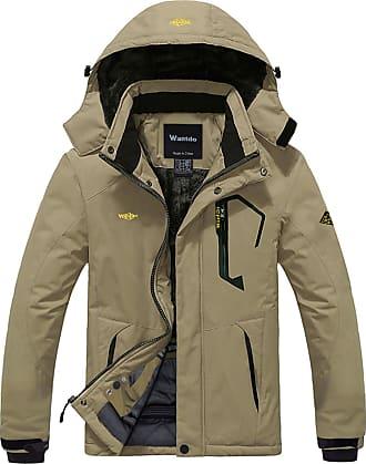 Wantdo Mens Anorak Ski Jacket Fleece Waterproof Windproof Multi-Pockets Khaki Medium