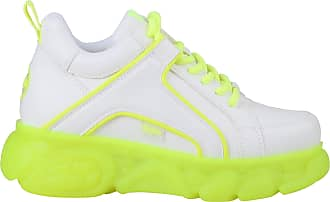 Buffalo Women Trainers CLD Corin, Ladies Low-Tops, Low Shoe,Street Shoe,Lacer,Sport Shoe,Platform Sole,Leisure,White/NEON Yellow,40 EU / 6.5 UK